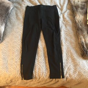 J. Crew Leggings Black with Gold Zips at Ankles